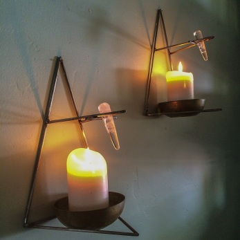 """""""Untitled Sconce Set of Two"""" 2014 Designed and fabricated by the artist Madison Wanamaker. Steel, Bronze, Crystal, Candle. *Price upon request"""