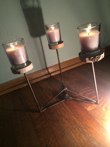 """""""Untitled Candelabra"""" 2014 Designed and fabricated by the artist Madison Wanamaker. Steel, Copper, Wood, Candle, Labradorite Stone. *Price upon request"""